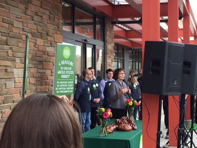 Mayor Kathy Ehley speaking before the eager crowds